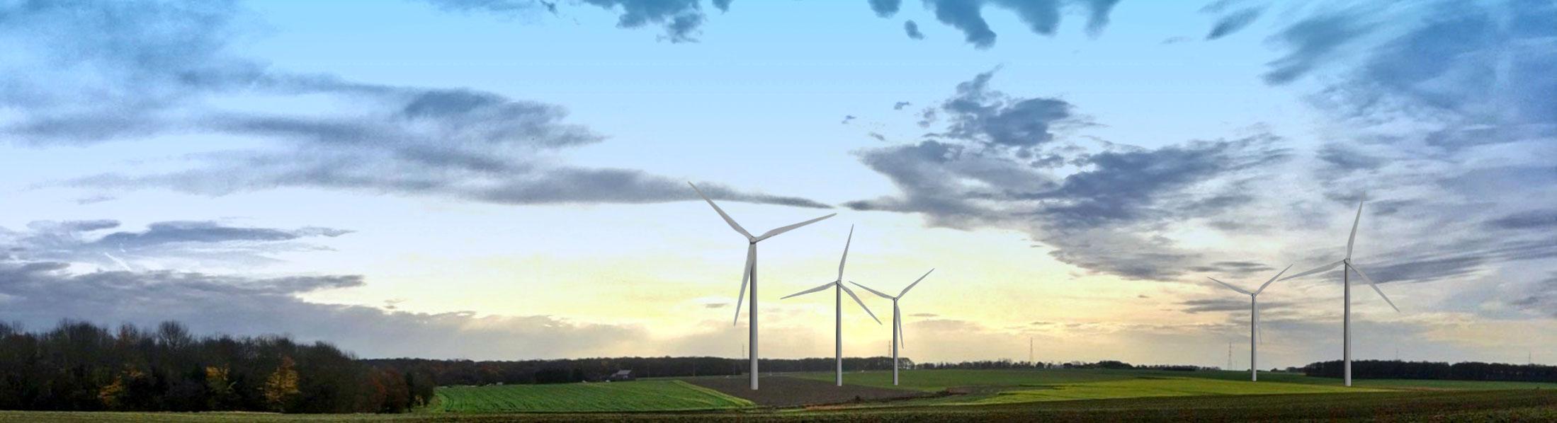 Image fictive des éoliennes sur le condroz